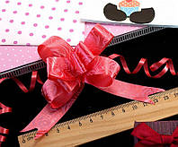 (10шт) Подарочные бантики 39х2см (13х10см в собранном виде) бант-затяжка Цвет - Красный (сп7нг-0459)