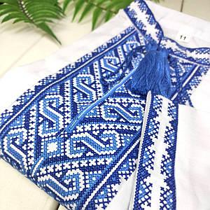 Вышиванка с синей вышивкой Орнамент-Волна