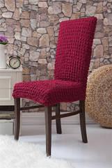 Натяжной чехол на стул без оборки  бордовый 1 шт