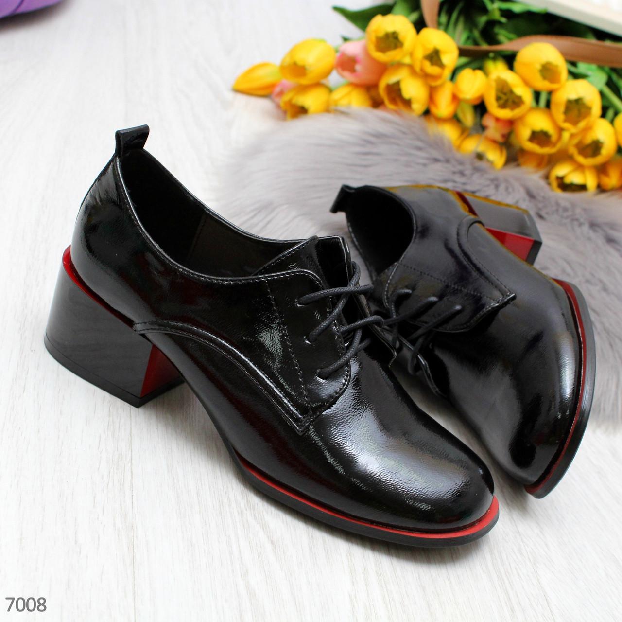 Эффектные черные демисезонные женские туфли на удобном каблуке