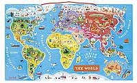 Магнитная карта мира Janod англ.язык