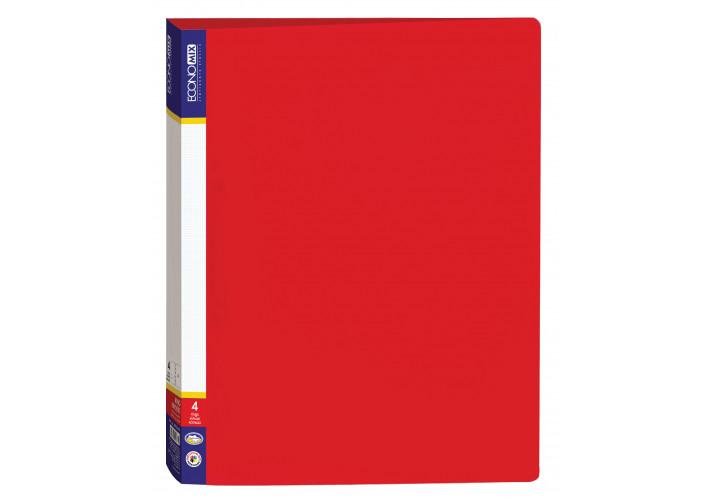 Папка на 4 кольца пластиковая А4 красная