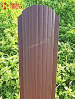 Штакет коричневий матовий двосторонній, Металевий штакет RAL8017 PEMA, Паркан з евроштакета, фото 1