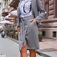 Красивая деловая юбка на запах по колено с поясом в клетку арт 648