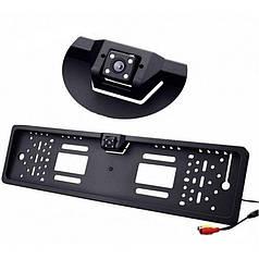 Авторамка для номерного знака  4LED Black с камерой заднего вида + 16 светодиодов