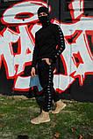 Штаны утеплённые чёрные с лампасами Stussy, фото 2