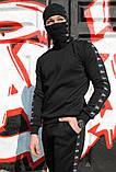 Штаны утеплённые чёрные с лампасами Stussy, фото 4