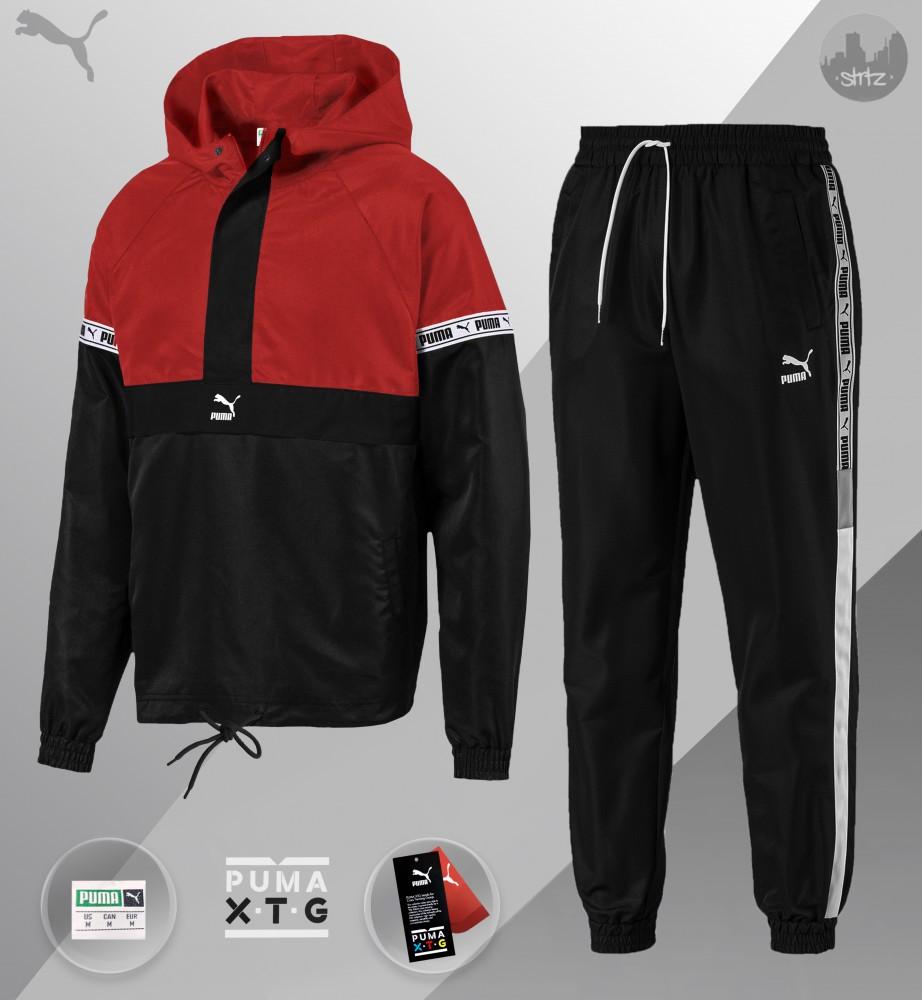 Комплект демісезонний анорак+штани Puma XTG Woven Set (Чорно-червоний)