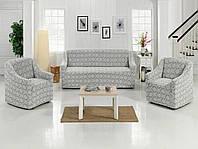 Чехол натяжной на диван и 2 кресла жаккардовый без оборки MILANO бежевый