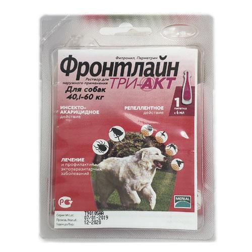 Капли Boehringer Ingelheim Frontline TRI-AKT XL против эктопаразитов для собак от 40 до 60 кг, монопипетка