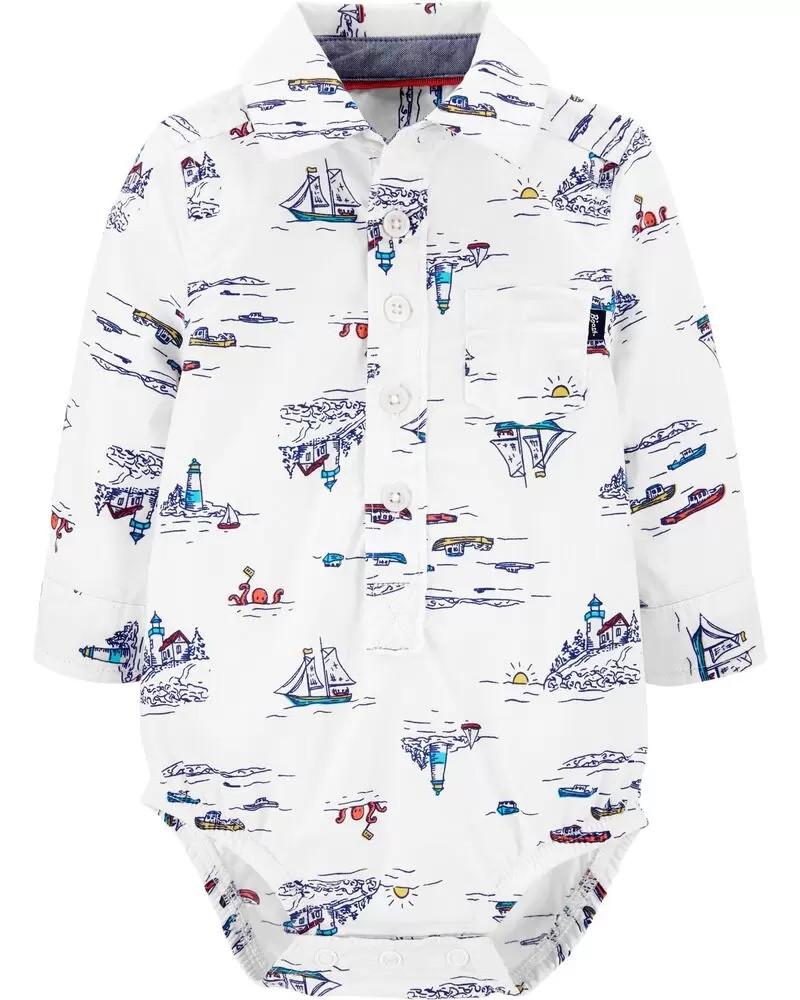 Крута дитячий боді-сорочка в морському стилі ОшКош для хлопчика