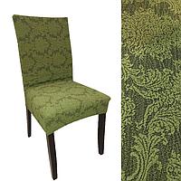 Чехлы без оборки на стулья жаккардовые MILANO LUX натяжные набор 6-шт зеленые