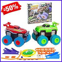 Канатный трек с машинками Монстр трак для детей, автотрек гоночный детский с игрушками Монстр-трак