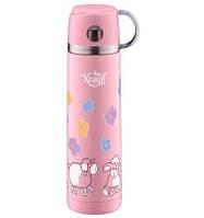 Термос детский 350 мл из нержавеющей стали, питьевой розовый с чашкой 26-178-049 Krauff