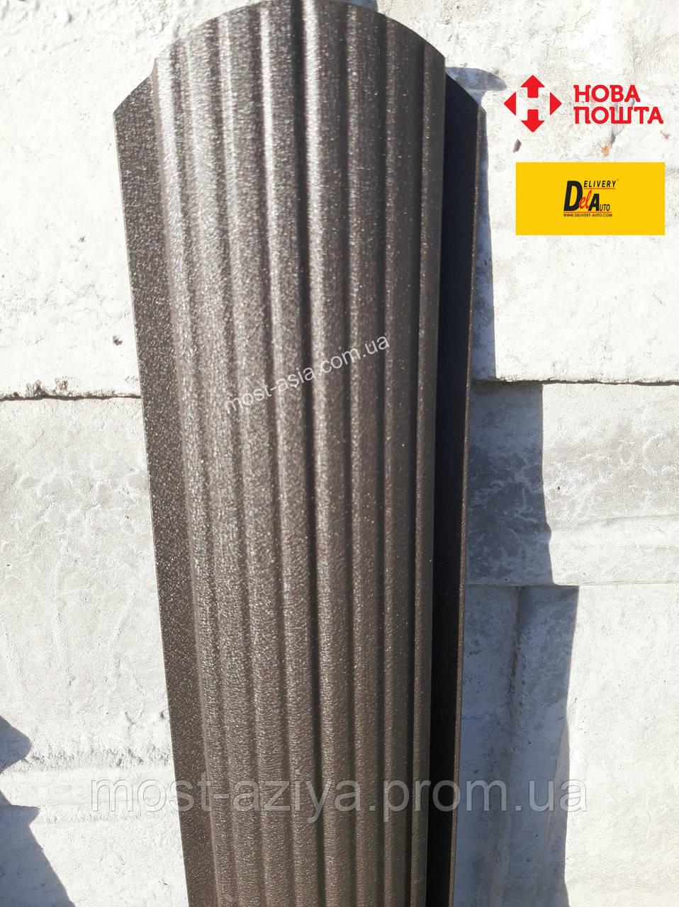 Штакет темно-коричневый матовый двухсторонний, Металлический штакетник RAL8019 PEMA, Забор из евроштакета