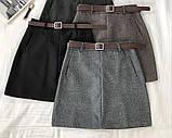 Юбка женская тёплая твидова. Цвет: чёрный, бежевый, серый, фото 8