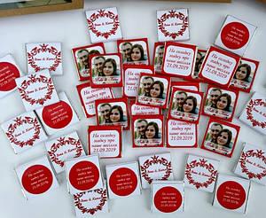 Шоколадна подяка гостям на весіллі. Шоколадні бонбоньєрки для гостей на весілля з фото,надписам на дві сторони