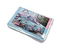 """Євро комплект (Бязь) постільної білизни """"Королева Ночі""""  Постільна білизна від виробника  Фламінго на блакитному, фото 5"""