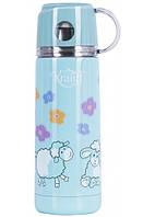 Термос детский вакуумный 350 мл из нержавеющей стали, питьевой голубой с чашкой 26-178-048 Krauff