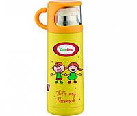 Термос детский вакуумный 350 мл из нержавеющей стали, питьевой желтый с чашкой СВ343 CON BRIO
