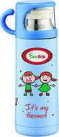 Термос детский вакуумный 350 мл из нержавеющей стали, питьевой голубой с чашкой СВ343 CON BRIO