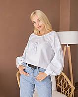 Женская вышиванка с белым геометрическим орнаментом (203)