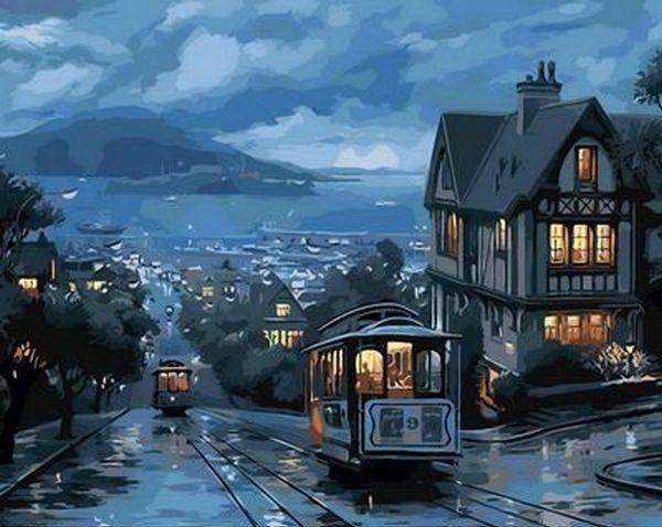 MR-Q1306 Раскраска по номерам Ночной трамвай худ. Лушпин Евгений