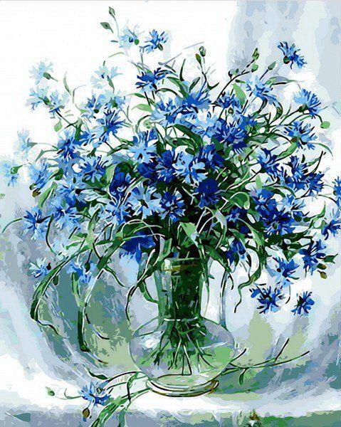 MR-Q848 Раскраска по номерам Васильки в стеклянной вазе худ. Вьюгова Римма