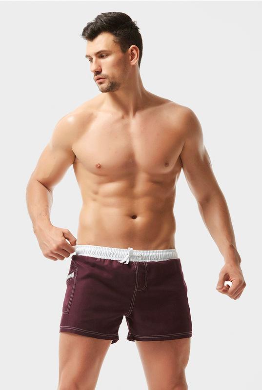 Чоловічі пляжні шорти AQUX бордові з білим поясом
