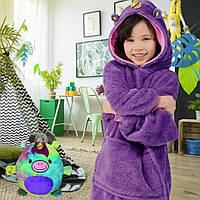 Детская мягкая игрушка единорог  подушка толстовка с капюшоном и рукавами Huggle Pets