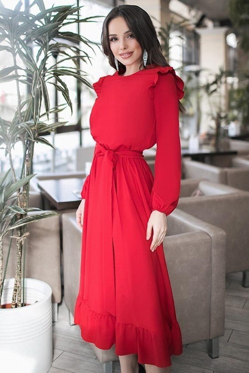Красное платье с поясом Авентура