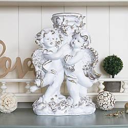 Статуэтка Пара ангелов подсвечник 31 см белый с золотом