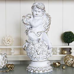 Статуэтка Ангел с арфой 34 см белый с золотом