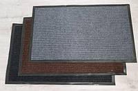 Коврик для входной двери грязезащитный 50*80 см в прихожую ворсовый черный в полоску