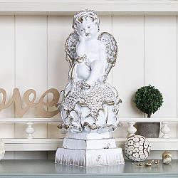 Статуэтка Ангел на цветке 37 см белый с золотом