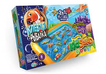 Игра настольная большая 2 в 1 Клёвая рыбалка и кинетический песок KidSand Danko Toys
