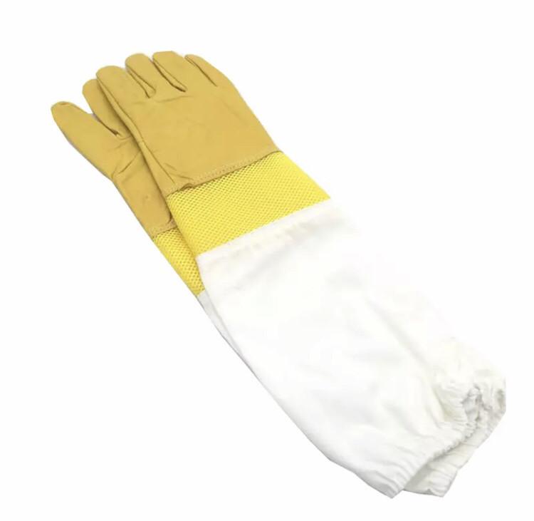 Перчатки пчеловода с вентиляцией (кожа+сетка) L