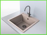 Кухонная гранитная мойка AQUA KREMA / кухонна гранітна мийка 505/500/200