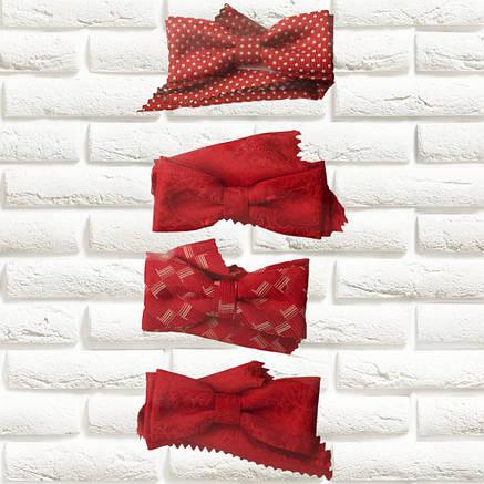 Галстуки-бабочки  для мальчиков Польша красные с платком в карман, фото 2