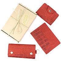 Подарочный набор №29: Обложка на паспорт + ключница + визитница (красный крокодил), фото 1