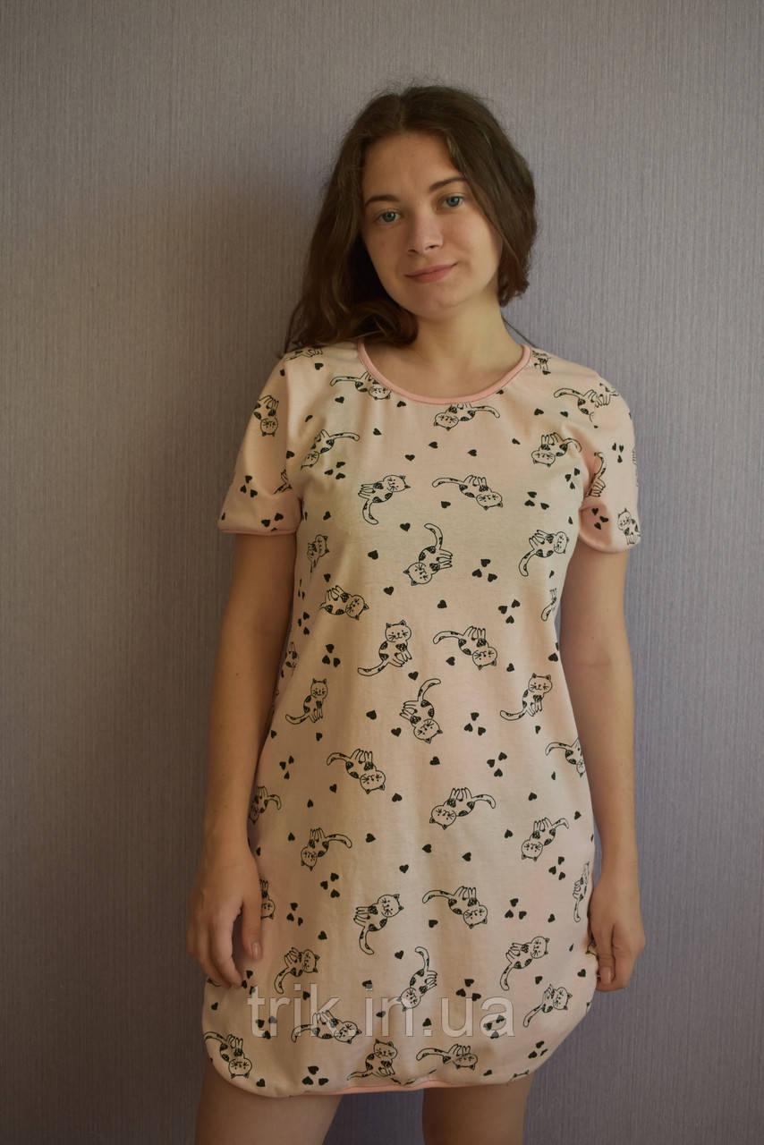 Красивое домашнее платье принт кошечки