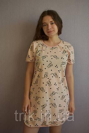 Красивое домашнее платье принт кошечки, фото 2