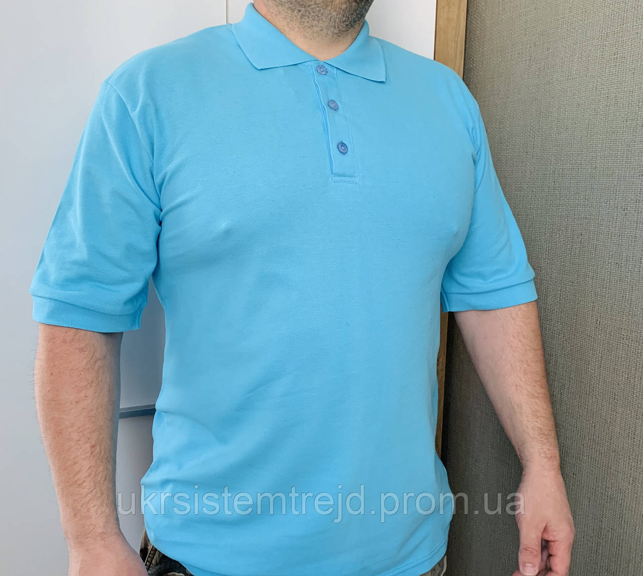 Футболка Поло голубой цвет (большой размер).