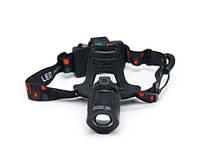 Налобный аккумуляторный светодиодный фонарь для рыбалки, охоты, туризма, спорта MHZ BL-T32-P50 6989, черный