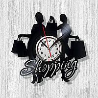 Часы Шоппинг Часы в магазин одежды Часы виниловые Шоппинг часы Мода часы на стену Силуеты покупателей 30 см