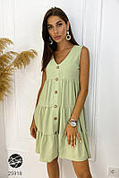 Ярусный сарафан зеленого цвета. Модель 25918. Размеры 42-60 50/52