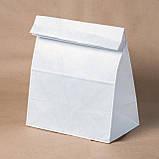 Белый крафт пакет с широким дном без ручек 260*150*350 мм для продуктов, фото 3