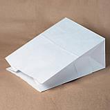 Белый крафт пакет с широким дном без ручек 260*150*350 мм для продуктов, фото 5
