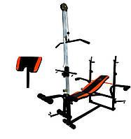 Скамья тренировочная WCG 0070 + Тяга  , скотта +  штанга 50 кг, фото 1