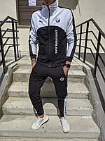 Спортивный костюм Puma BMW Motorsport black-white мужской осенний весенний черно-белый | ЛЮКС качества